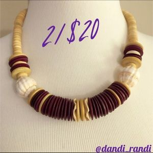 Wooden Bead & Round Stone Necklace